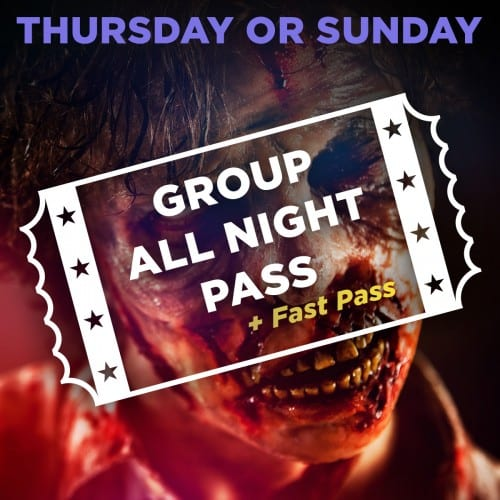 Thurday or Sunday Scream Park Group All Night Pass + Fast Pass